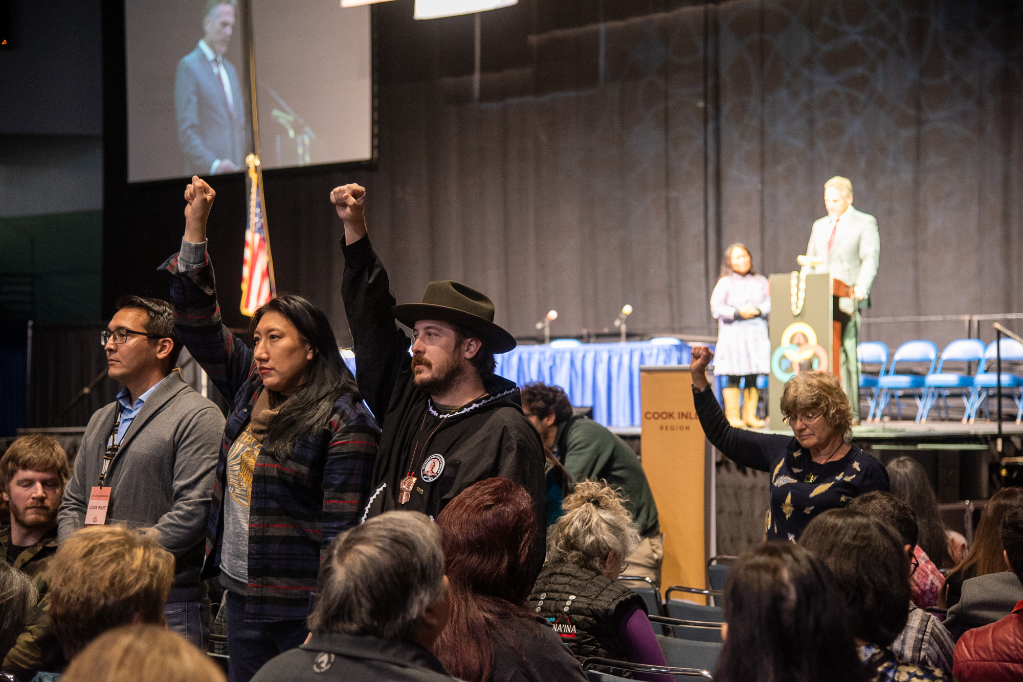 Dunleavy strikes unconvincing conciliatory tone as he's met with protests at AFN | The Midnight Sun