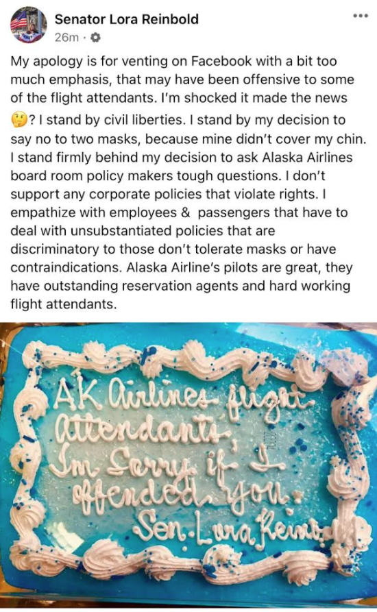 "A cake reading ""AK Airlines flight attendants, I'm sorry if I offended you. Sen. Lora Reinbold."""